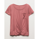WHITE FAWN Twist Front Girls Pocket Tee