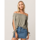 IVY & MAIN Sage And White Stripe Womens Off The Shoulder Top