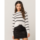 SKY AND SPARROW White & Black Stripe Womens Crop Sweater