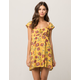 SKY AND SPARROW Floral Flutter Sleeve Dress