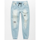 EAST POINTE Checkered Boys Ripped Denim Jogger Pants