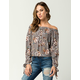 SKY AND SPARROW Floral Tie Sleeve Womens Top
