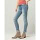 SKY AND SPARROW Angle Fray Ankle Womens Ripped Jeans