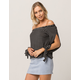 IVY & MAIN Black And White Stripe Womens Off The Shoulder Top