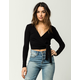 SKY AND SPARROW Ribbed Womens Wrap Top