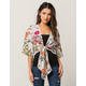 IVY & MAIN Floral Stripe Kimono Sleeve Tie Front Womens Crop Top