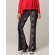 SKY AND SPARROW Linear Floral Medallion Womens Flare Pants