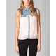 FULL TILT Womens Denim Inset Chiffon Shirt