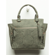 VIOLET RAY Amber Perforated Olive Satchel Purse