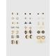 FULL TILT 20 Pairs Infinity Key & Leaf Stud Earrings
