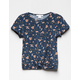 WHITE FAWN Ditsy Knot Front Girls Tee