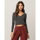 IVY & MAIN Cinch Front Marrow Stripe Womens Crop Top