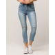 SKY AND SPARROW Roll Cuff Womens Ripped Skinny Jeans