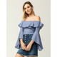 IRIS Ruffle Sleeve Womens Off The Shoulder Top