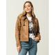 SKY AND SPARROW Knit Inset Womens Faux Leather Jacket