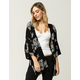 SKY AND SPARROW Embroidered Floral Womens Kimono