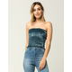 SKY AND SPARROW Smocked Velvet Womens Tube Top