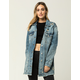 SKY AND SPARROW Frayed Womens Long Denim Jacket
