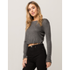 WHITE FAWN Ribbed Lettuce Edge Womens Crop Top