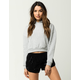 WHITE FAWN Drop Shoulder Womens Crop Hoodie