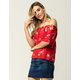 IVY & MAIN Floral Swing Womens Off The Shoulder Top