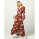 GYPSIES & MOONDUST Floral Surplice Womens Top And Maxi Skirt Set
