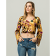 PATRONS OF PEACE Velvet Floral Womens Top