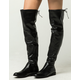 YOKI Faux Leather Womens Over The Knee Boots