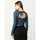 CHLOE & KATIE Open Back Womens Marled Crop Top