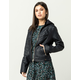 CI SONO Cable Knit Hood Womens Faux Leather Jacket