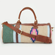Ethnic Pattern Leather Trim Duffle Bag