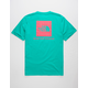 THE NORTH FACE Red Box Teal Green Mens T-Shirt
