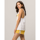 ADIDAS 3 Stripe Womens Yellow Shorts