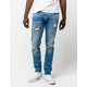 RSQ Seattle Extreme Wash Ripped Mens Skinny Tapered Jeans