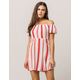 MIMI CHICA Stripe Off The Shoulder Dress