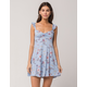 SKY AND SPARROW Floral Womens Ruffle Sleeve Dress