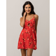 SOCIALITE Cinch Front Red Fit N Flare Dress