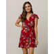 BAND OF GYPSIES Floral Surplice Wrap Dress