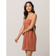 SOCIALITE Tie Back Rust Womens Dress
