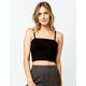 BOZZOLO Ribbed Black Womens Crop Tank Top