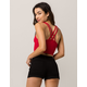 BOZZOLO Ribbed Empire Waist Red Womens Tank Top