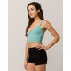 BOZZOLO Ribbed Empire Waist Teal Green Womens Crop Tank Top