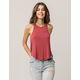 BOZZOLO Ribbed High Neck Rust Womens Tank Top