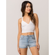 DESTINED Ribbed Empire Waist White Womens Tank Top