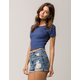 BOZZOLO Ribbed Lettuce Edge Blue Womens Crop Tee