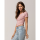 BOZZOLO Ribbed Lettuce Edge Pink Womens Crop Tee
