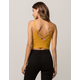 BOZZOLO Ribbed Criss Cross Mustard Womens Crop Cami