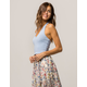 BOZZOLO Crop Blue Womens Halter Top