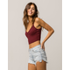 BOZZOLO Ribbed Surplice Wine Womens Crop Cami