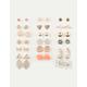FULL TILT 20 Pairs Heart & Bow Stud Earrings